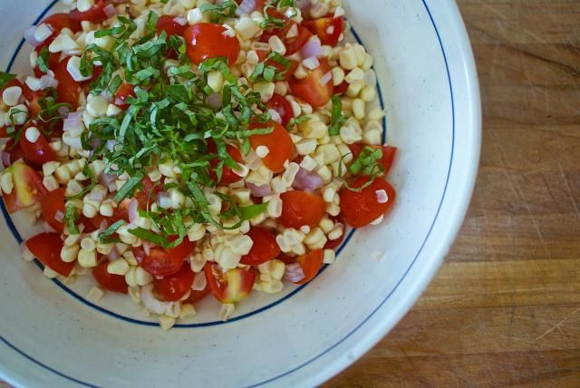 Corn, tomato, and basil make the perfect, ultra-summer salad that's tasty with pretty much any grilled meal.