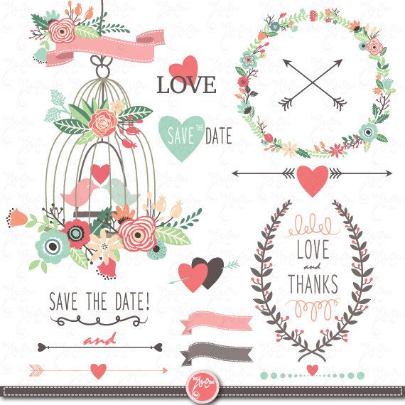 Wedding Clipart pack WEDDING FLORA clip art by YenzArtHaut on Etsy, $5.00