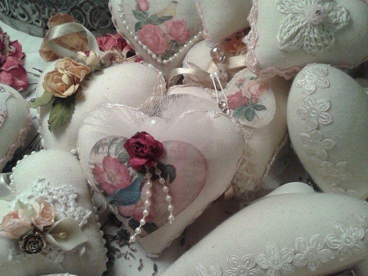 corazones de la colección de invierno, hechos a mano en tela de algodón