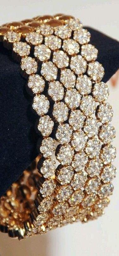 White and Gold Wedding. Bride Rhinestone Bracelet, Cuff. Le Vian Gold & Diamonds ♥✤ | KeepSmiling | BeStayClassy