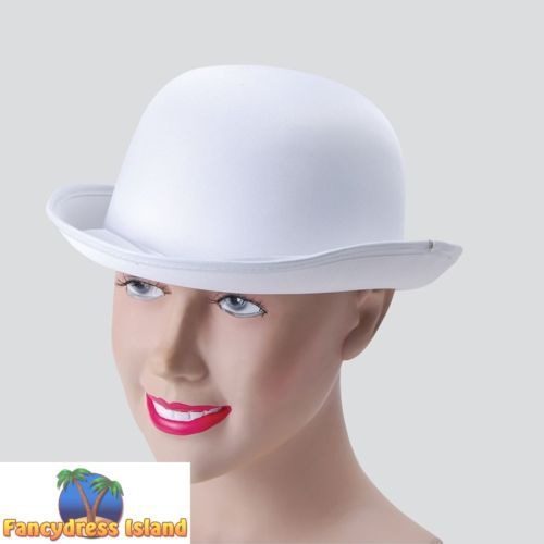 OLD-ENGLAND-WHITE-SATIN-LOOK-BOWLER-HAT-One-Size-FAST-POST-Mens-Fancy-Dress