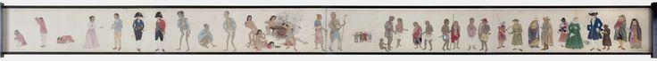 Ishizaki Yushi | Nederlanders en vreemdelingen, Ishizaki Yushi, 1800 - 1850 | Langwerpige schildering op zijde, dat op papier is geplakt. Om stokje bevestigd met boven en onder een ivoren knop. Op voorzijde geheel links zwarte Japanse karakters. Links onder hiervan: in rode karakters signatuur. Rechts hiervan zijn naast elkaar allerlei personen geschilderd, alleen of in groepjes, in allerlei kostuums en kleding. Geheel rechts loopt de rol door in een gedeelte met blauw textiel met ingeweven…