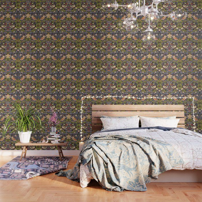 Buy William Morris Strawberry Thief Art Nouveau Painting Wallpaper By Vintageartstore W Mid Century Modern Patterns Pattern Wallpaper Peel And Stick Wallpaper