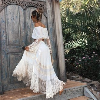 $100 White A-Line Lace Detail Chiffon Matching Two Piece Co Ord Summer Beachwear Festival Inspired Boho Chic Tumblr