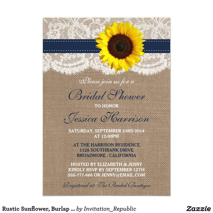 Rustic Sunflower, Burlap & Lace Bridal Shower Card This rustic sunflower, burlap and lace bridal shower invitation will make the perfect announcement for any bride-to-be! The design features a lovely rustic burlap effect background with a romantic vintage white lace effect trim finished with a stunning sunflower and navy blue ribbon. These invitations can be personalized for your special occasion and would make the perfect announcement for any rustic country wedding, bridal shower…
