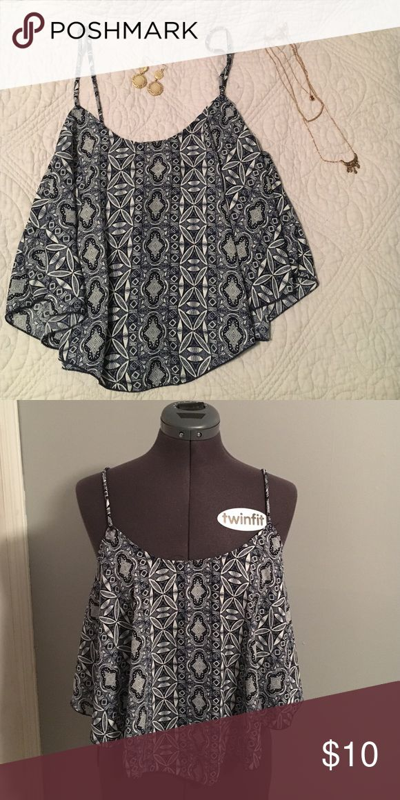 Aztec crop top Flowy crop top perfect for any boho look! Tag says L (comfortably fits D cup chest), but can also fit M and possibly S. Worn once. Tops Crop Tops