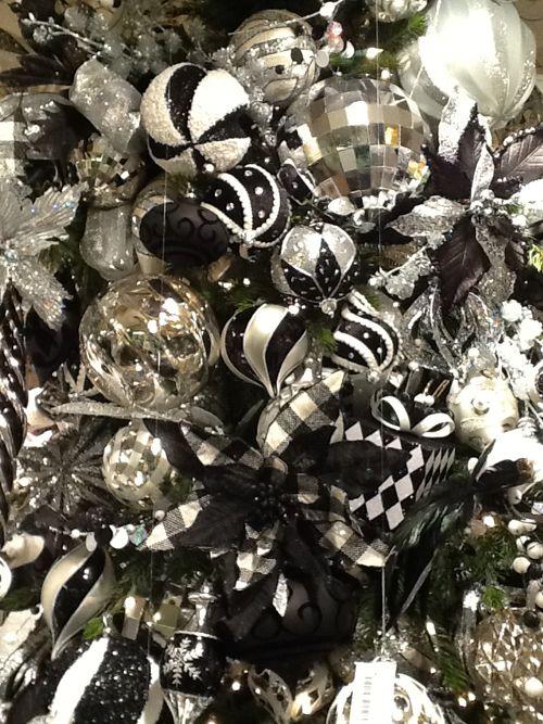 82 best Black  White Christmas Tree Ideas images on Pinterest