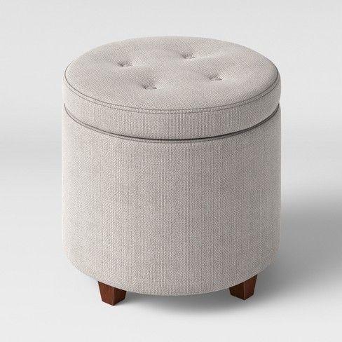 Astonishing Round Tufted Storage Ottoman Gray Textured Weave Threshold Inzonedesignstudio Interior Chair Design Inzonedesignstudiocom