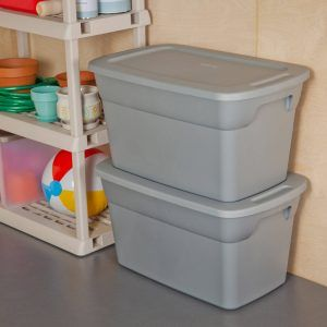 6 Large Plastic Storage Container Bin Stackable 30 Gallon Tote Box with Lid Set : plastic storage box large - Aboutintivar.Com