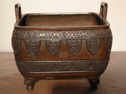 Japon, cache pot en bronze patiné, époque XIXe siècle - Objet de décoration Style Napoléon III