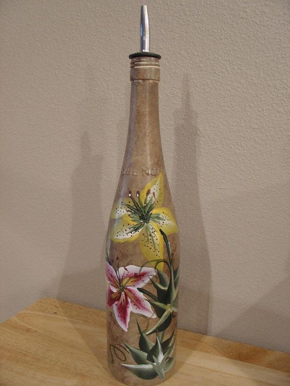17 best images about hand painted glass bottles on for Painted wine bottles