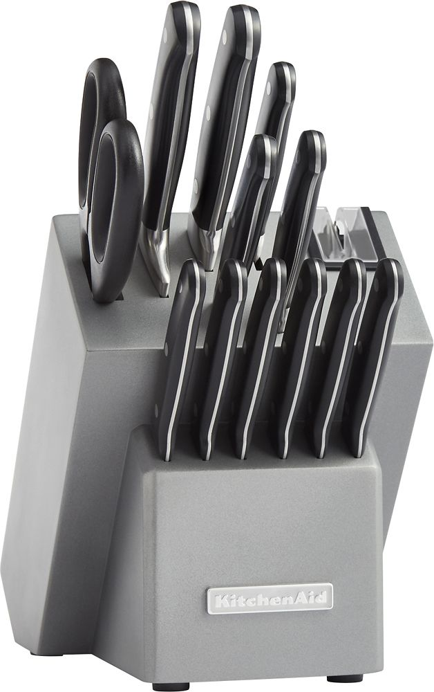 KitchenAid - Classic KKFTR14SL 14-Piece Knife Set - Silver