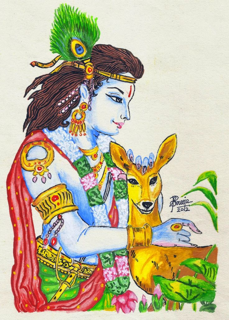 Lord Krishna- Poster color Painting by Sreeja Renganath