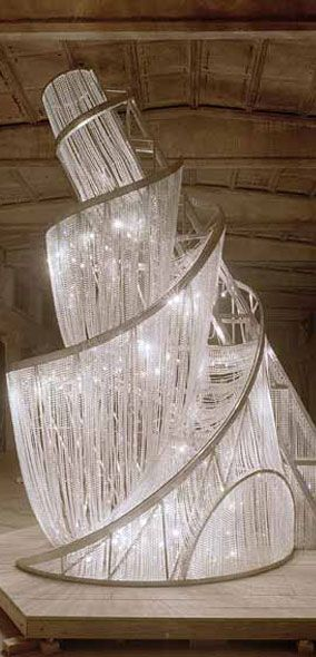 Artist Ai Weiwei - Fountain of Light is a shining seven-metre tall crystal tower. The work refers to the Russian architect Vladimir Tatlin's (1885-1953) never-finished tower, created for the Third International in 1919 during the Russian Civil War.