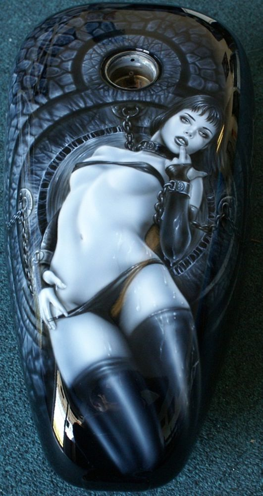 """Custom Motorcycle Painting On Your Tins """"Harley Girl"""" gas tank freehand airbrush                                                                                                                                                                                 More"""