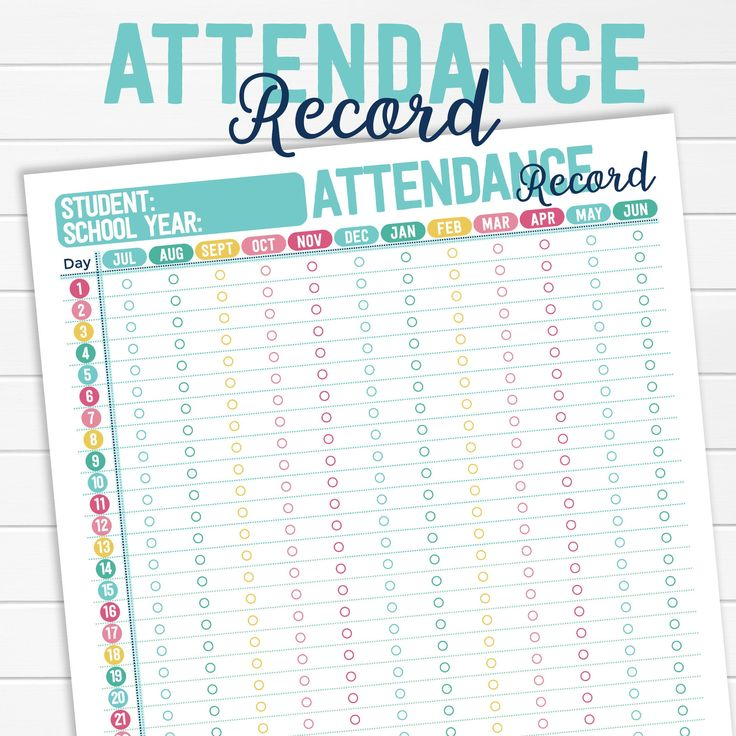 Homeschool attendance record log tracker sheet 1050 etsy