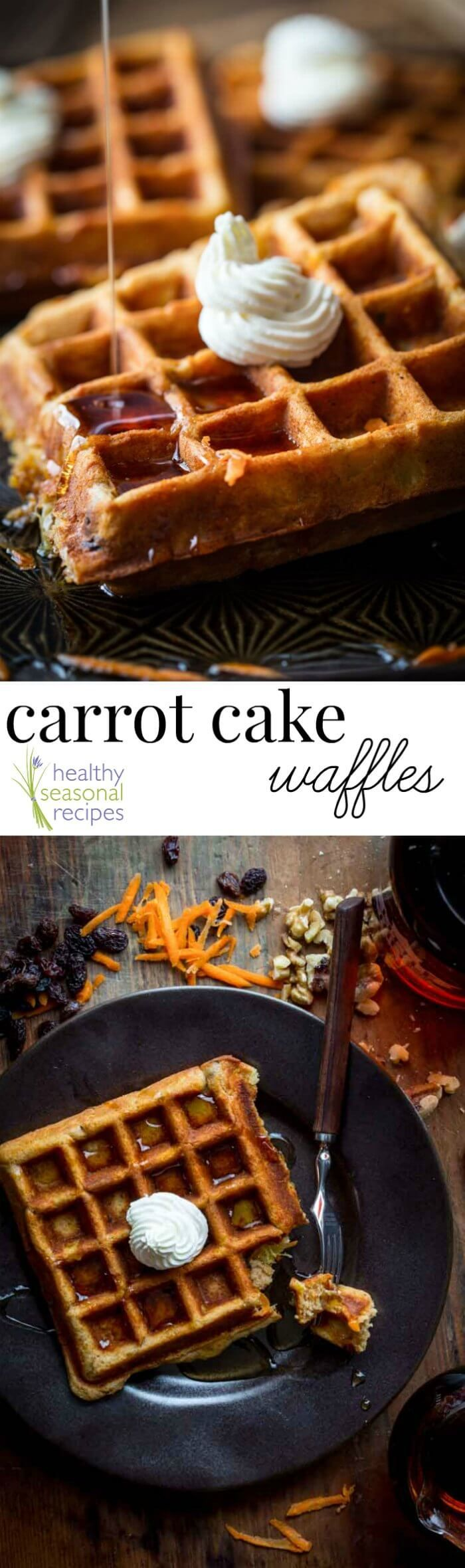 These Carrot Cake Waffles are a cross between a hearty, wholesome whole-wheat waffle and a slice of carrot cake. They have 9 grams of protein, 5 grams of fiber and nearly 25% of the RDA for Vitamin A and C. @healthyseasonal | Healthy Seasonal Recipes