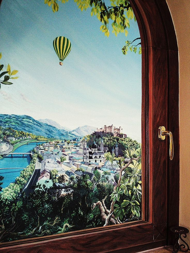 Fereastra catre Salzburg, ulei pe perete, 2014 Mozaiq Restaurant, complez Sonnenhof Suceava