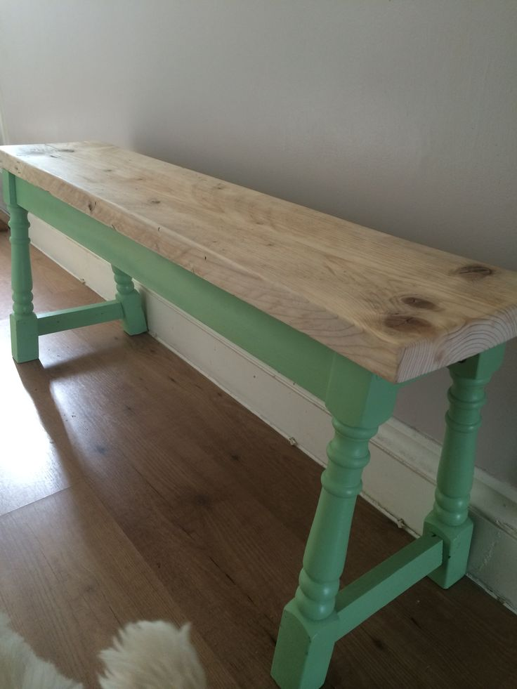 Our hallway bench. Handmade from recycled scaffold boards and old table legs, painted in mint ice cream, hand mixed from recycled paint. Commissions available, email fred.nason@hotmail.co.uk