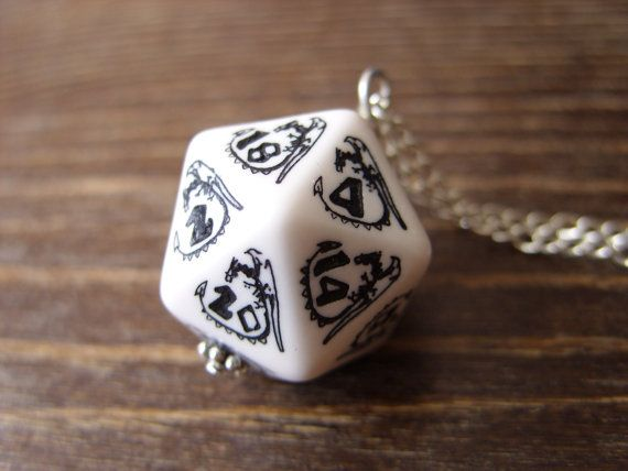 D20 dice dragon necklace dungeons and dragons by MageStudio