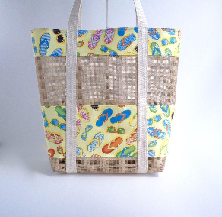 Mesh Beach Bag, Vinyl Mesh Beach Bag Tote, Nautical Flip Flops Beach Bag,  Seashell Collecting Mesh Bag, Sand Toy Mesh Tote, by BagsOnTheBeach on Etsy