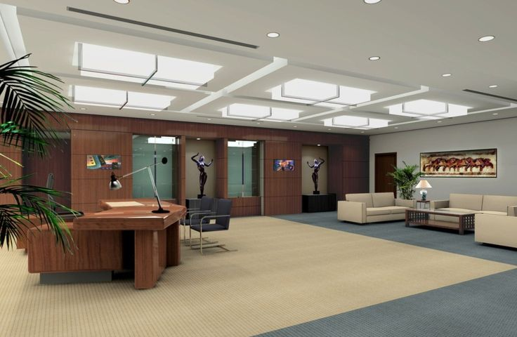 modern ceo office interior design - wood accents, old + new, modern lighting, plants, furniture