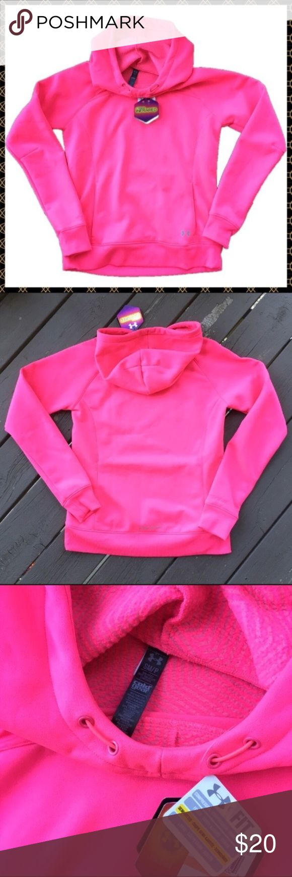 NWT Under Armour ColdGear Infrared Storm Hoodie Women's ColdGear Infrared Armour Fleece Storm Hoodie. Brand spanking new with tags in a gorgeous pink color. No flaws at all. Size small. The last picture is just to show the fit. I'm only looking to sell at this time so sorry but no trades. I have listed this sweatshirt at the lowest price point I can possibly accept so my listing price is firm. Under Armour Tops Sweatshirts & Hoodies