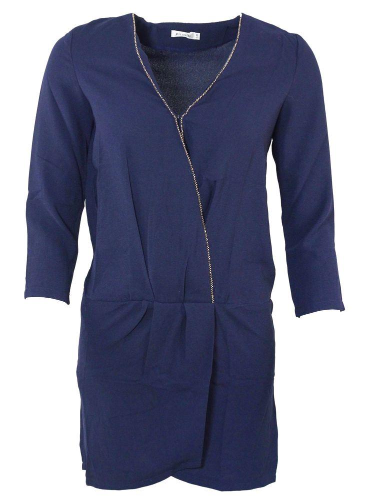 Cette jolie robe bleue peut être portée en soirée comme en journée ! Ses petites perles vous feront briller et souligneront votre décolleté !  http://tinyurl.com/k9udca8  #robe #perles #soirée #bleu