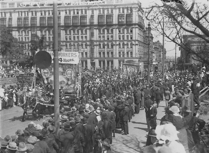 Workers demand a 44-hour working week. Labour Day march, Sydney, circa 1926. Sam Hood collection, State Library of New South Wales: http://www.acmssearch.sl.nsw.gov.au/search/itemDetailPaged.cgi?itemID=6384. Digital order no.: hood_03741
