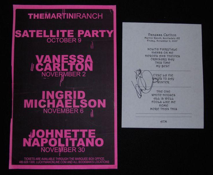 Vanessa Carlton Concert Poster and Signed Set List Martini Ranch Scottsdale AZ #Nessaholics #VanessaCarlton