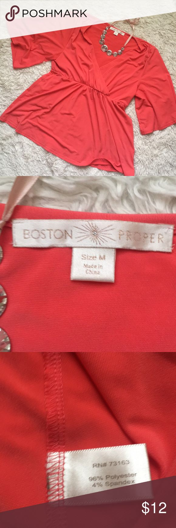 Boston Proper Peach Blouse Perfect for Spring occasions! This Boston Proper blouse is stretchy material with a defining waist and flowing sleeves. It has a deep V neckline and sleeves land just above the elbow. ✨ Open to offers! Boston Proper Tops Blouses
