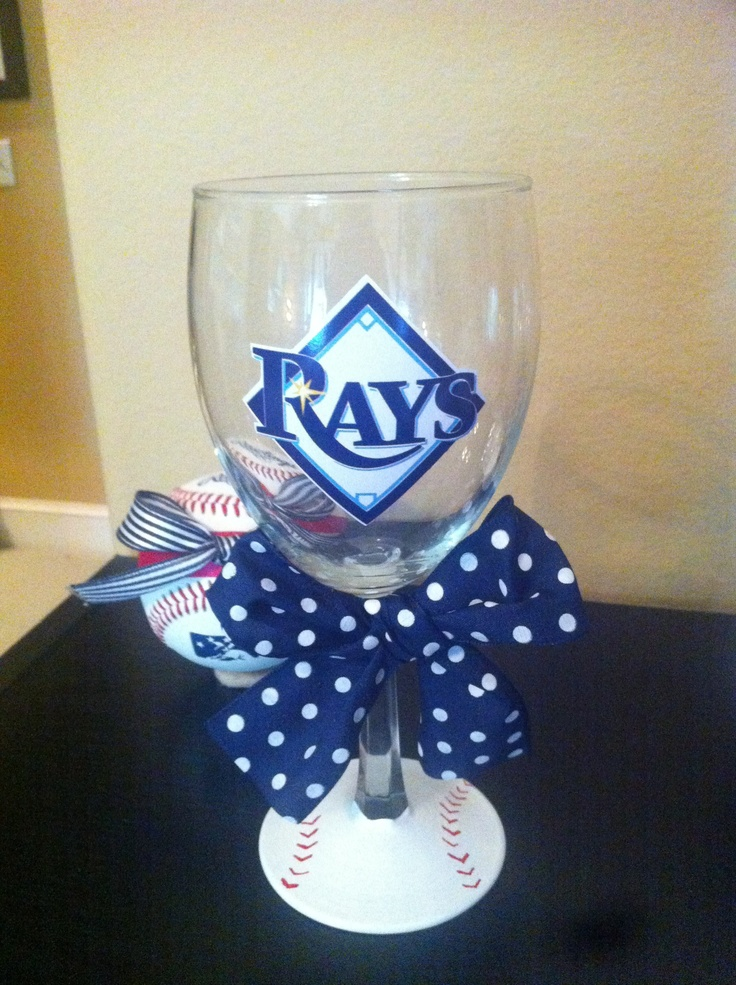 Tampa Bay Rays wine glass!! $15 http://www.etsy.com/listing/96681534/tampa-bay-rays-wine-glass