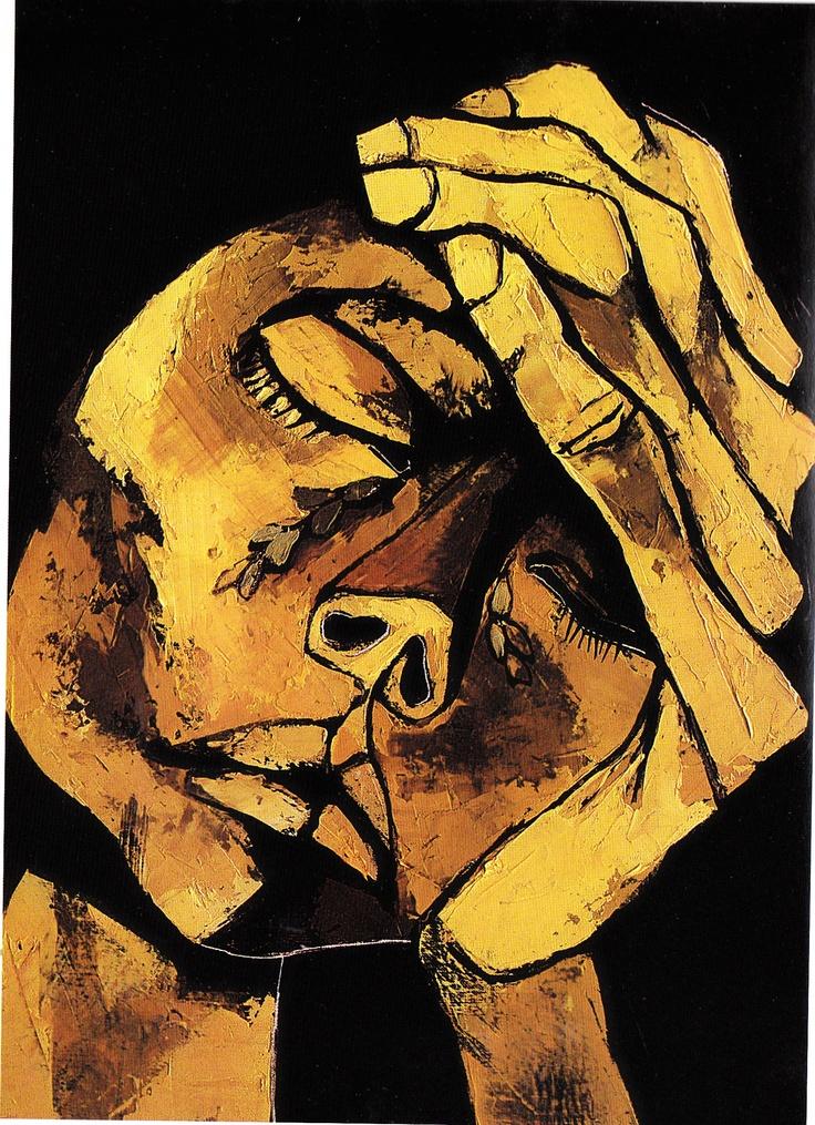 Cabeza y mano (1984) Oleo sobre tela 50 x 70 cm