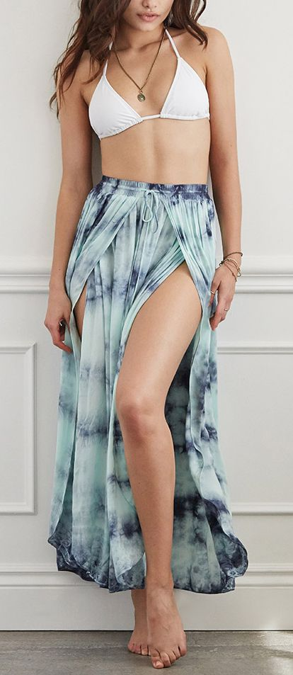 Tie Dye Split Skirt