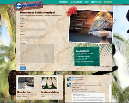 sitio web de olas permanentes, página de contacto. 2014. ®raquel marón estudio creativo www.olaspermanentes.com
