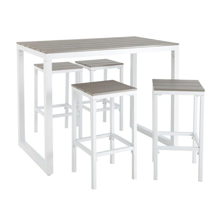 Hoher Gartentisch Mit 4 Hockern Aus Aluminium L128 Table Garden
