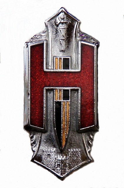 1929 Hupmobile Badge by wcraig, via Flickr.  We have one identical to this.  Years ago Jay took it from an old rusty auto body on the property.