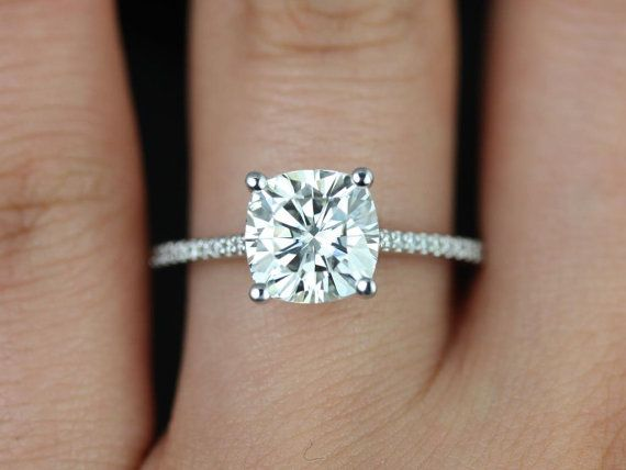 Marcelle 14kt White Gold Cushion FB Moissanite and by RosadosBox