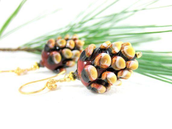 Pine Cone Earrings Rustic Earrings Woodland by GlassRiverJewelry