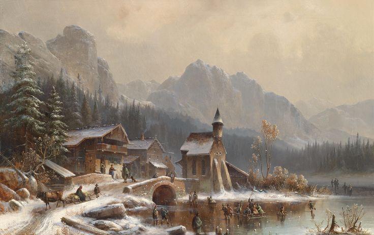 German Artist Meyer Oil Painting Mountains
