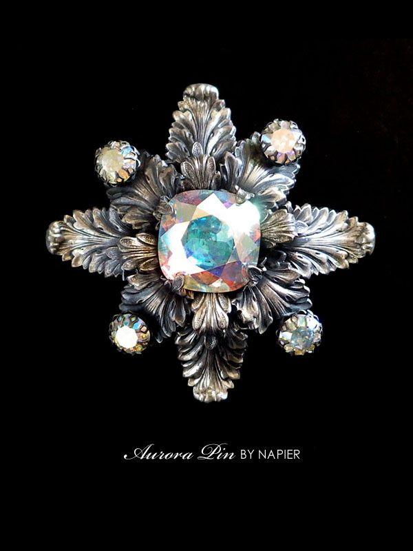 オーロラガラスのアンティークペンダントブローチ NAPIER(ネイピア)