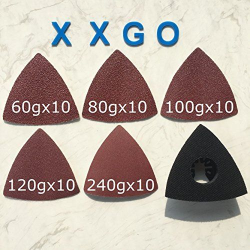 XXGO 51 Pcs Triangular 3-1/8 Inch 60 / 80 / 100 / 120 / 240 Grits Oscillating Multi Tool Grits Sand Paper and Triangular Sand Pad Sets For Universal Oscillating Tools  XXGO 51 Pcs Triangular 3-1/8 Inch Oscillating Multi Tool Sanding Pad Sets  50 Pcs Self Stick 60 / 80 / 100 / 120 / 240 Grit Sandpaper  3- 1/8 Inch Triangular Sanding Pad / Sand Paper , 80 mm x 80 mm x 80 mm Size  Pack of 1 Pc Multi Tool Sanding Pad and 50 Pcs Sand Paper , 60 / 80 / 100 / 120 / 240 Grit , 10 Pcs Each  Bes...