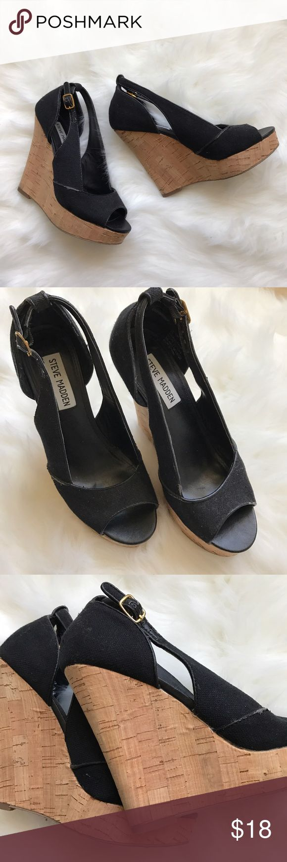 """Steve Madden Taytum Blk Espadrille Peep Toe Wedges Steve Madden. Style: Taytum. Size: 6M. Black canvas fabric. Peep toe with sling back gold buckle. 1"""" toe lift and 5"""" wedge. Originally $70. Well worn with normal scuff damage to outer shoe as pictured. Shoes still have a lot of life! Will take best offer. No box. Steve Madden Shoes Wedges"""