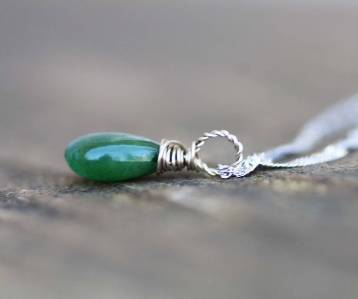 Tiny Natural Zambian Emerald Briolette Pendant in Solid 14K White Gold , May Birthstone , 20th 55th Anniversary , Healing Gem  , Wire Wrap by JuJuBeJewels on Etsy