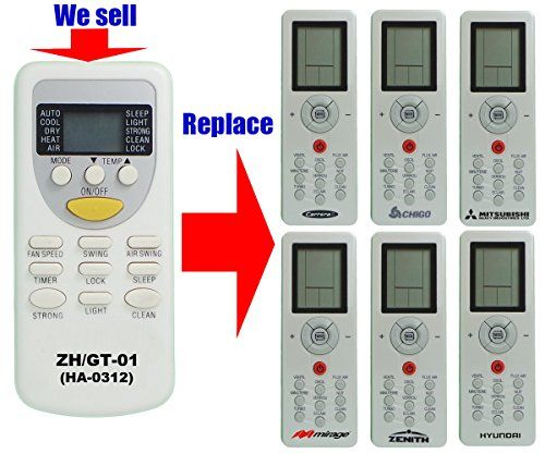 This remote controller HA-0312 is 2016 NEW DEVELOPED #replacement for AC remote control model number ZH/GT-01 of Chigo/ Hyundai/ Carrera/ Mirage/ Zenith/ Mitsub...