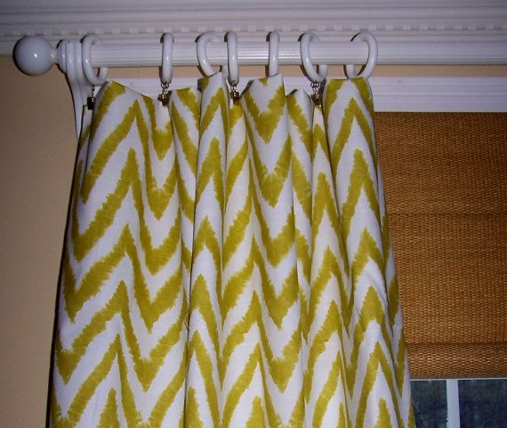 Yellow Green CHEVRON CURTAINS Premier Fabric Slub Linen Like Two Custom Drapery Panels 50 x 96 White Background New Premier Prints Zig Zag on Etsy, $149.00