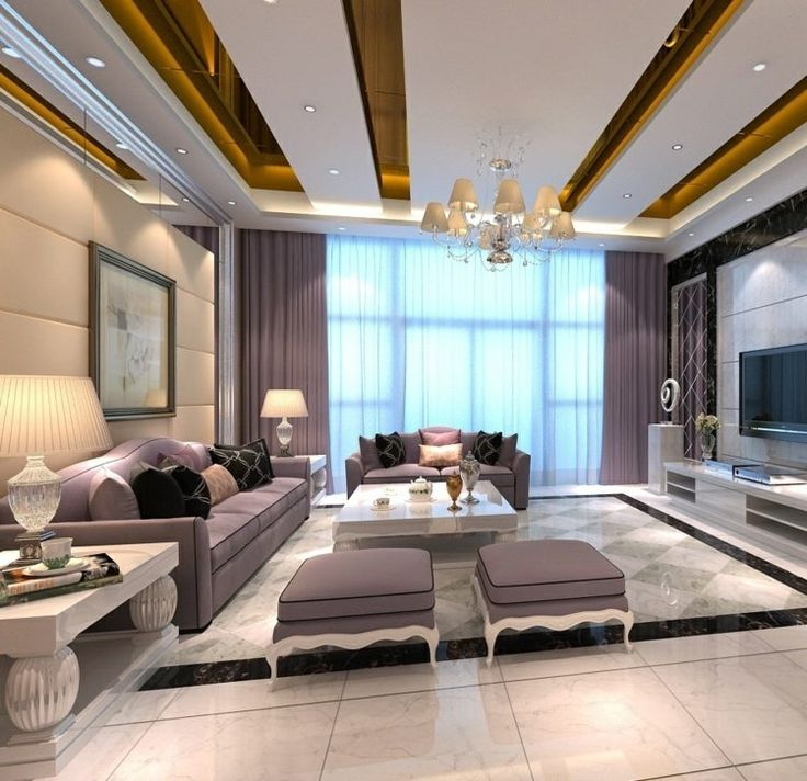 Nice Diese Deckengestaltung erfolgt durch goldene Streifen mit Spiegeleffekt