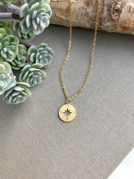 14k Solid Gold Compass Necklace Travel Charm Direction Necklace Delicate Compass North Star Pendant Christmas Gift Mother Gift
