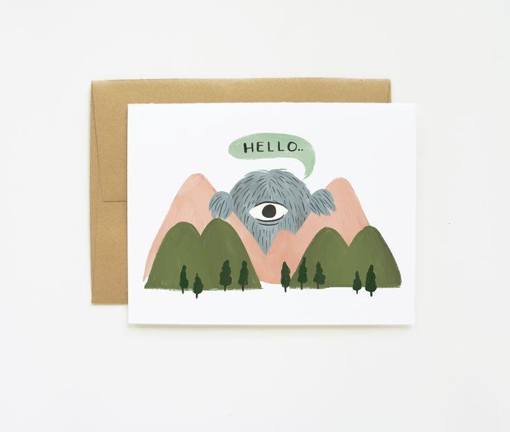 Peeking Giant Hello Card
