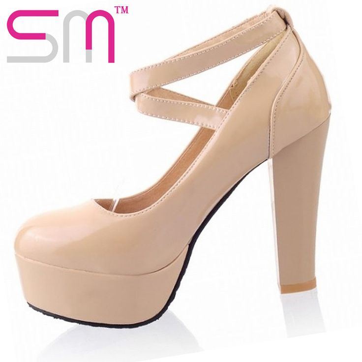 Size 34-43 Sweet Mary Janes Cross Ankle Straps Pumps Spring Autumn Pumps Shoes Woman 2015 Brand High Heels Platform Shoes alishoppbrasil